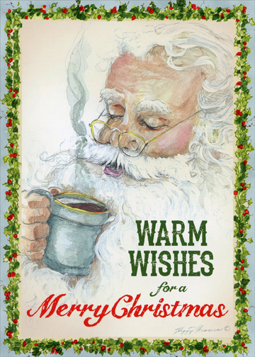 Coffee Break Peggy Abrams Santa Christmas Card By LPG