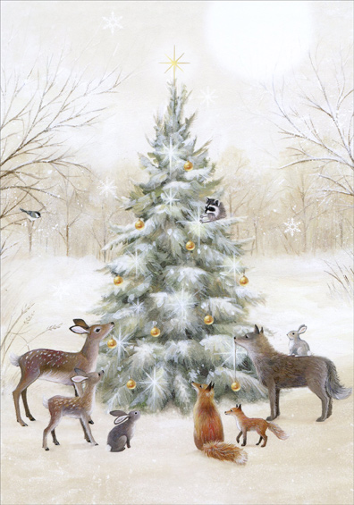 Animals Decorating The Tree Sarah Summers Christmas Card