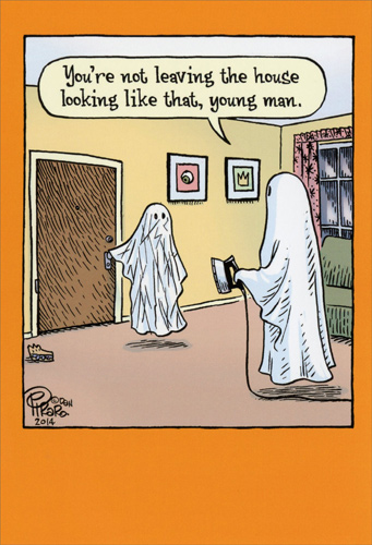 Wrinkled Ghost Funny Halloween Card By Nobleworks