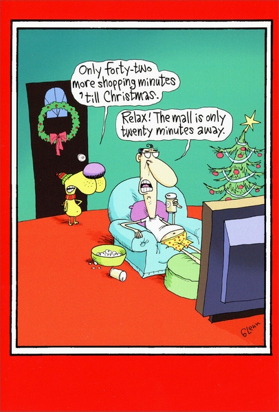 Last Minute Shopping Funny Humorous Christmas Card By