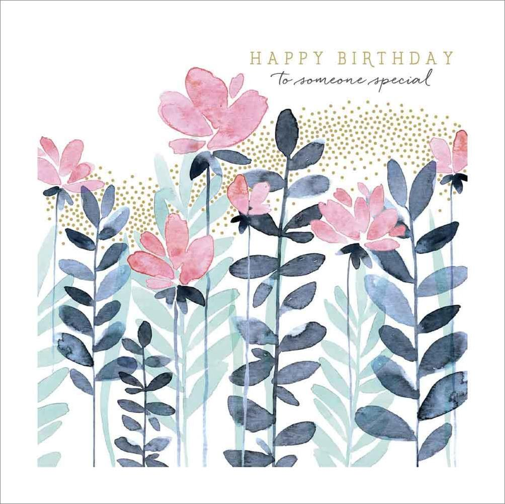 Notes Queries Blue And Pink Flowers With Gold Dots Birthday Card Ebay
