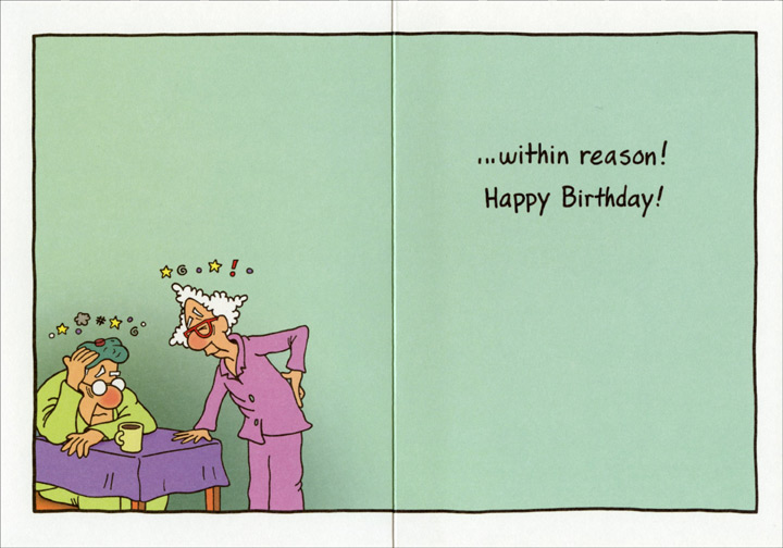 Elderly Couple Dancing Funny Humorous Birthday Card By