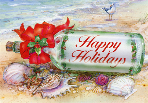 Holiday Message In Bottle Beach Christmas Card By Red Farm