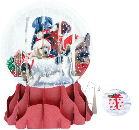 Christmas Dogs Large Snowglobe Pop Up Christmas Card By Up