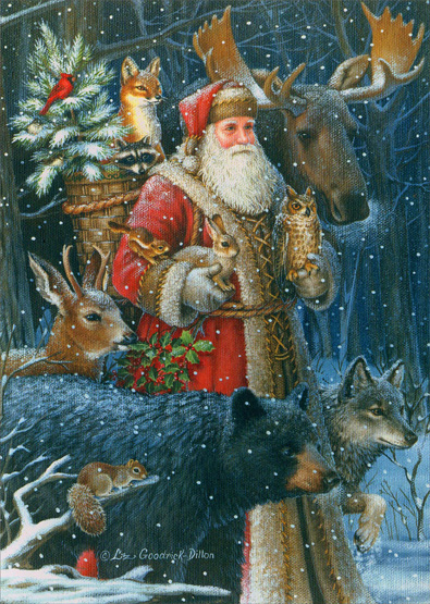 Woodland Santa 16 Boxed Christmas Cards By LPG Greetings