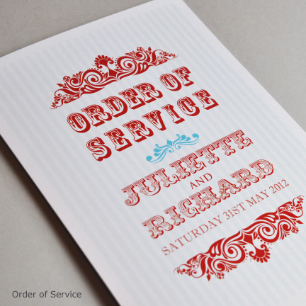 Wedding Stationery Order of Service