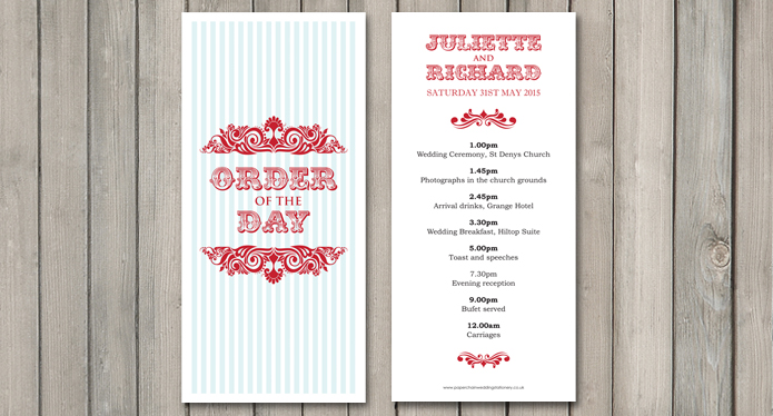 Carnival Wedding Stationery