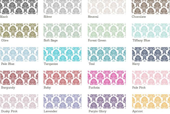 Damask Wedding Stationery Sample Colours