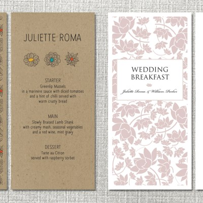 Personalised menu and place card