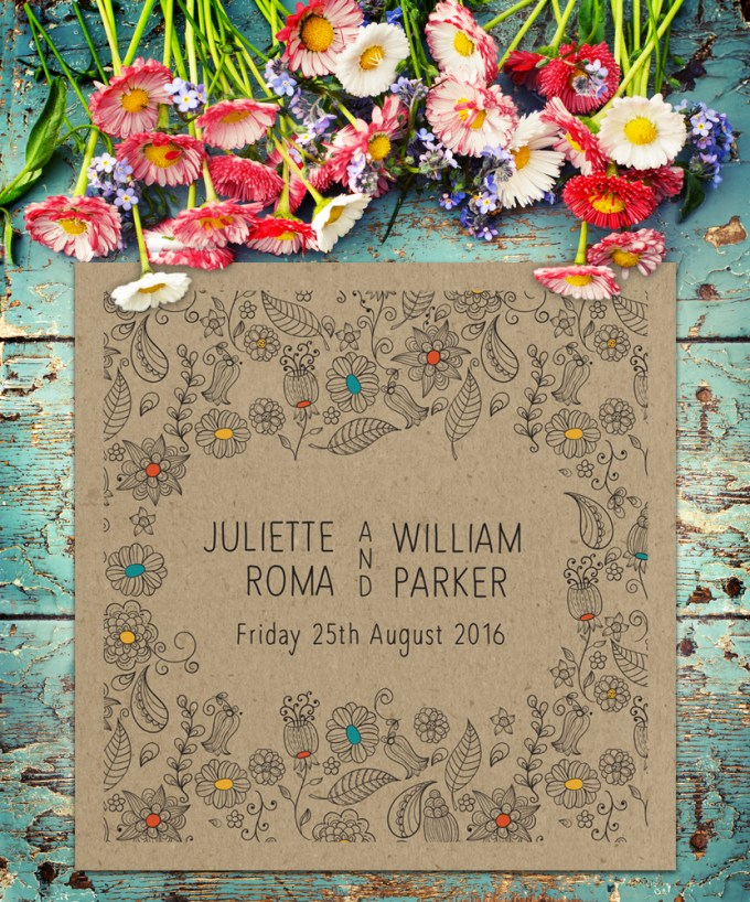 Natural Square wedding invitation