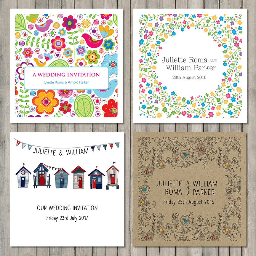 bright wedding stationery