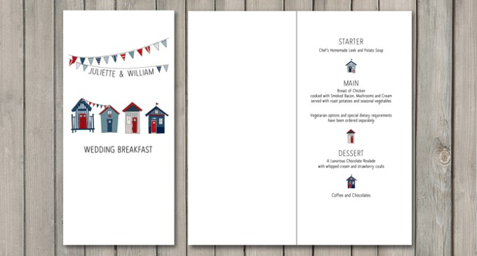 Beach Hut Wedding Stationery