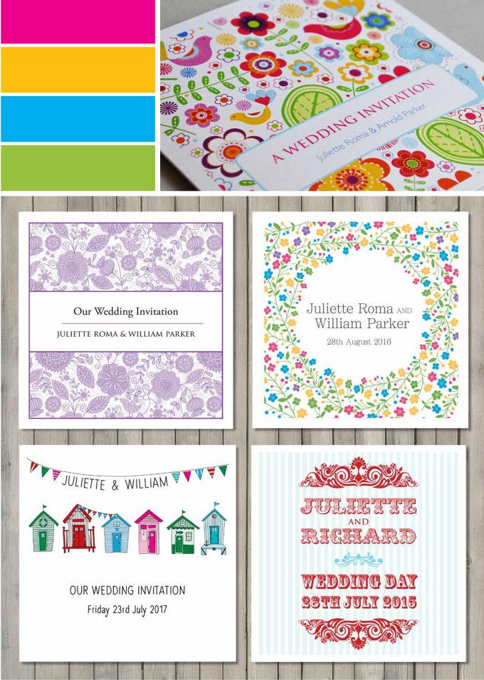 bright wedding invitations
