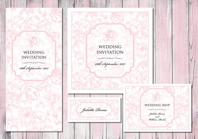 English Rose wedding invitations