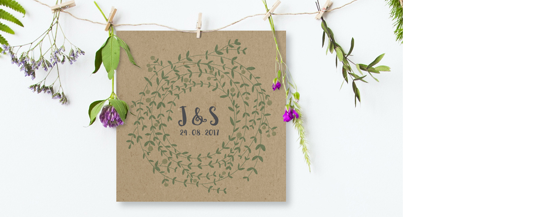 Wreath Wedding Stationery Colours