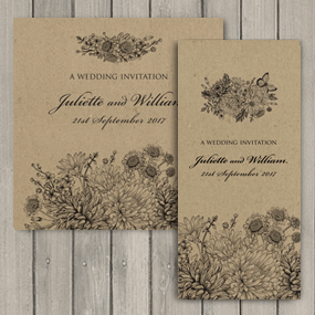 Wreath Wedding Invite - DL and Square format
