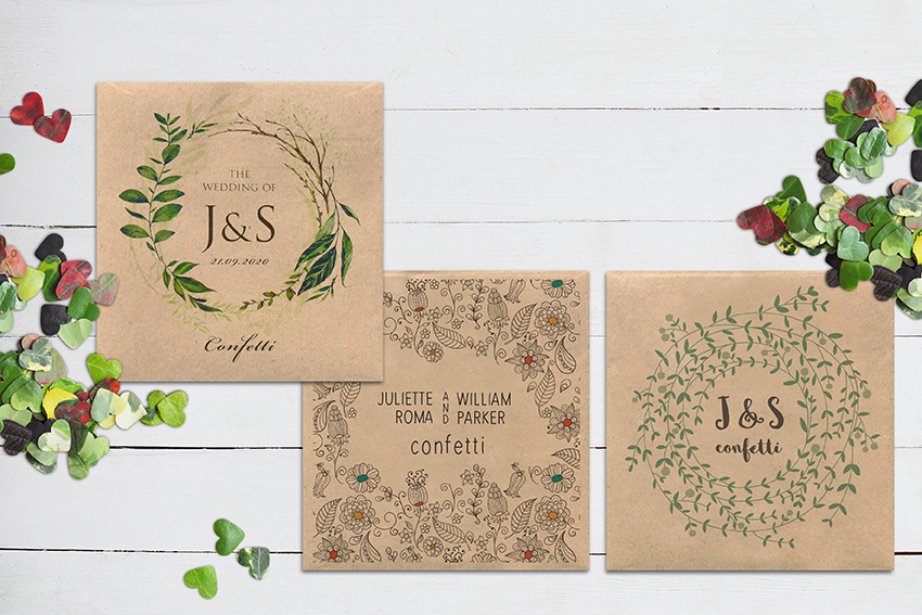 eco friendly wedding confetti packets