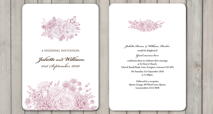 Botanical Garden White A5 Wedding Invite