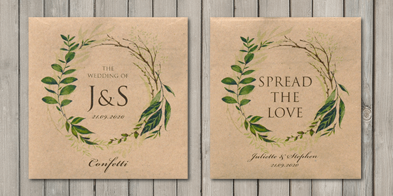 Greenery wedding confetti and wedding favour seed packets will keep the eco friendly theme going.