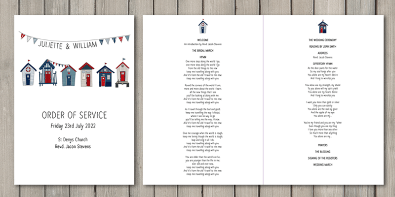 Beach Hut order of service is a great continuation of the wedding stationery collection.