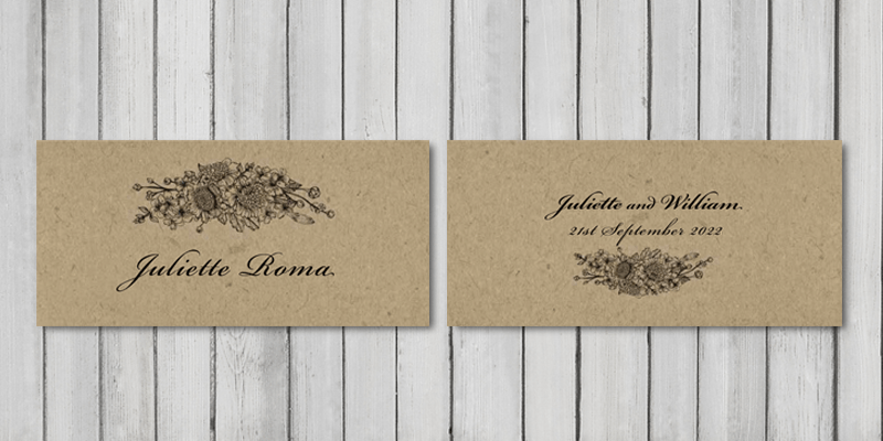 Botanical Garden recycled wedding place cards will direct guests to their seating position at the wedding breakfast table.