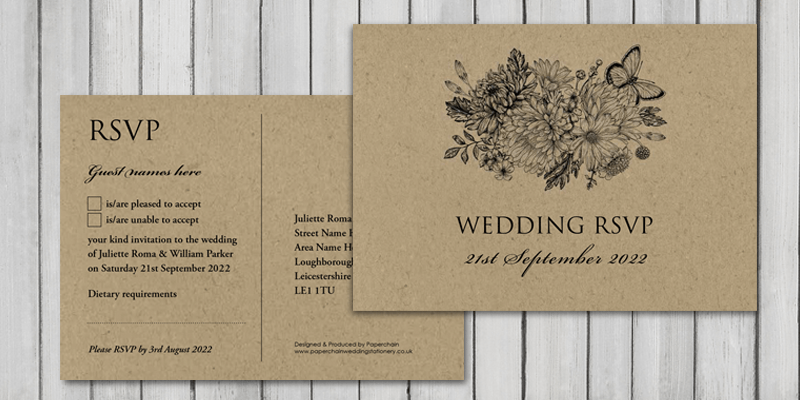 Botanical Garden eco friendly wedding RSVP cards make it quick and easy for your guests reply .