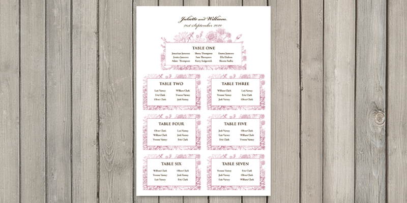 Botanical Garden wedding table plan lets all of the wedding guests know where they are to be seated.