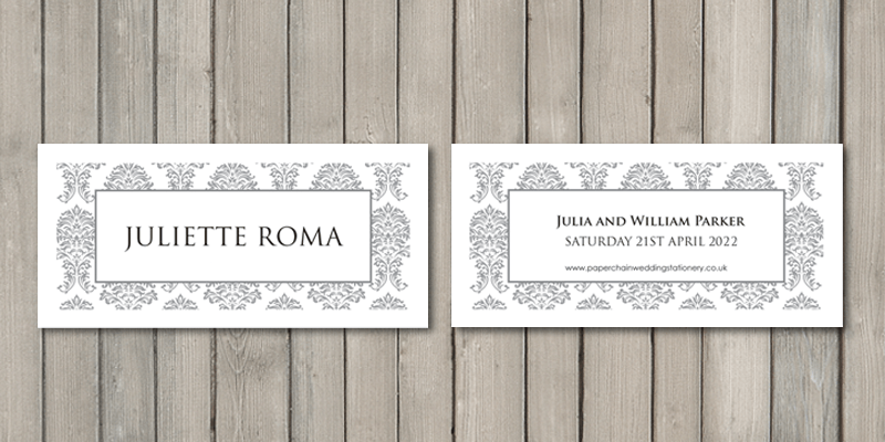 Damask wedding place cards are a sophisticated part of any table wedding stationery.