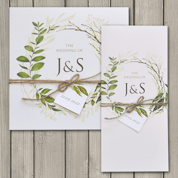 Greenery square and DL wedding invitations