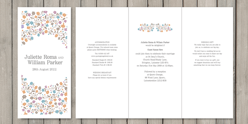 Primrose 6 sided wedding invitations have 3 pages for text. Giving lots of room for extra wedding information.