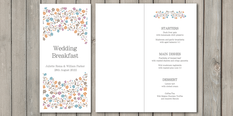 Primrose wedding breakfast menu lets guests know the menu for the day.