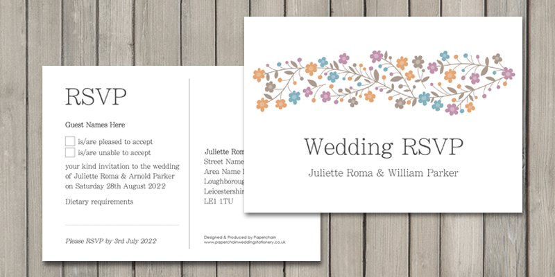 Primrose Wedding RSVP card enables guests to reply quickly and easily.