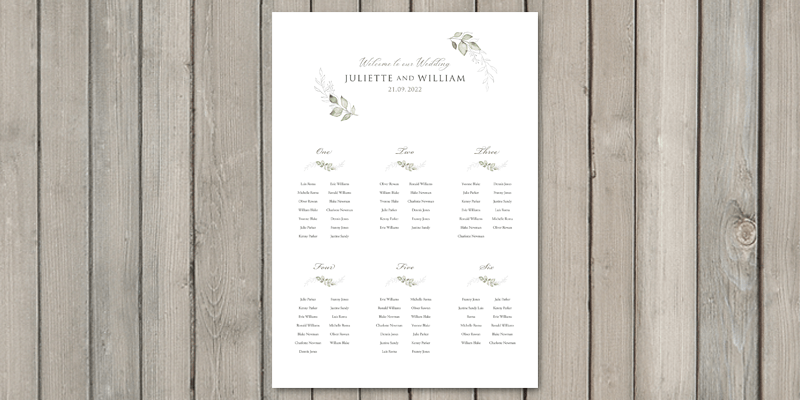 Serenity wedding table plan will keep order and let all guest know where they are to be seated.