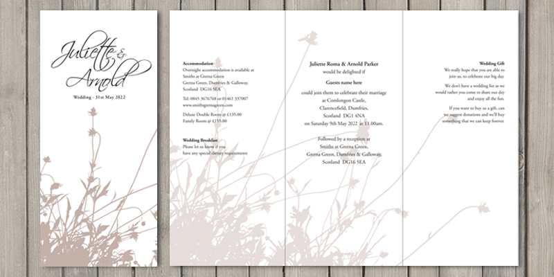 Summer Breeze DL wedding invitations are perfect for weddings where lots of guest information is needed.