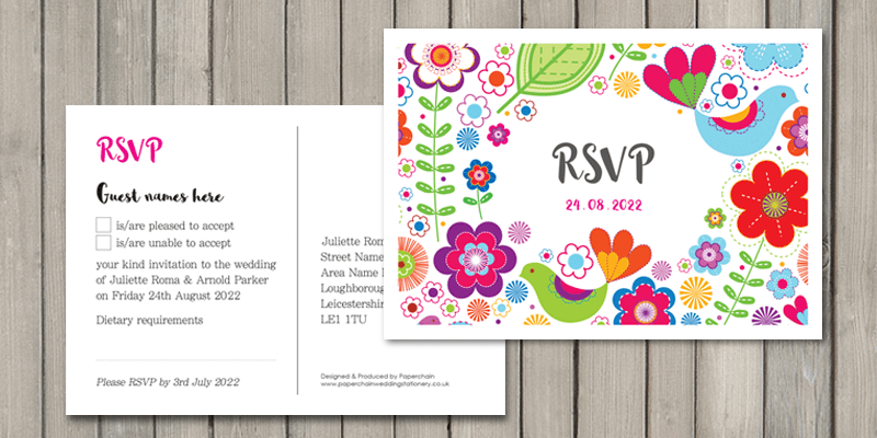 Sunshine RSVP cards are designed  to make it quick and easy for guests to reply to your wedding invitation.