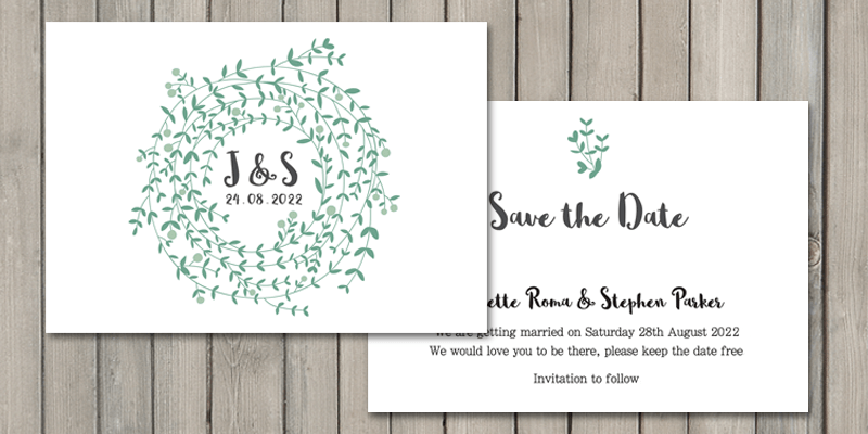 Wreath Save the date cards printed onto eco friendly bamboo cards