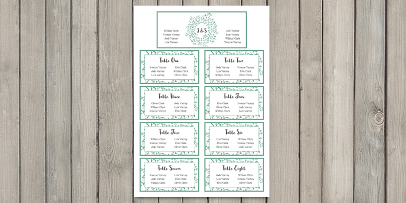 Wreath wedding table plan is an important part of the wedding stationery as it lets all guests know where to be seated.
