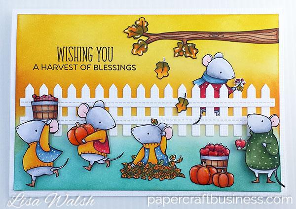 Autumn Greeting Card featuring the MFT Harvest Mouse stamp set. Visit the blog post to view more pics & to find out more about the supplies I used to create this adorable card. Designed by Lisa Walsh @ Papercraft Business #mftstamps #myfavoritethingsstamps #MFTAutumnCard #mftharvestmouse #fallcards #papercraftbusiness