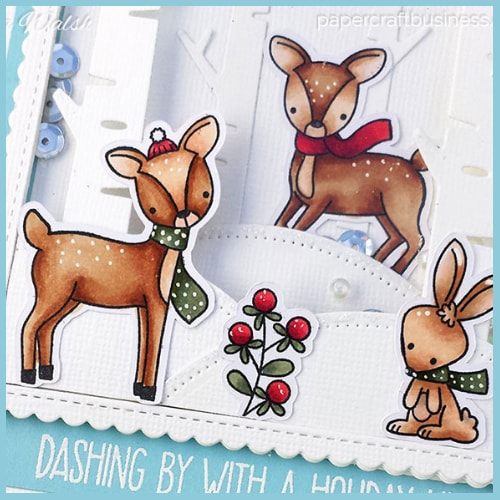 6 Embossed Merry Christmas with Reindeer//Deer Die Cuts Any Colour//Card