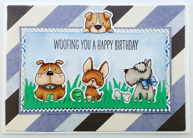 Dog Lover Birthday card - MFT Lucky Dog. Check out the blog post for instructions, supplies & Copic colours. Created by LisaWalsh @ Papercraft Business. #mftcards #papercraftbusiness #cardshandmade #mftstamps #handmadecardideas