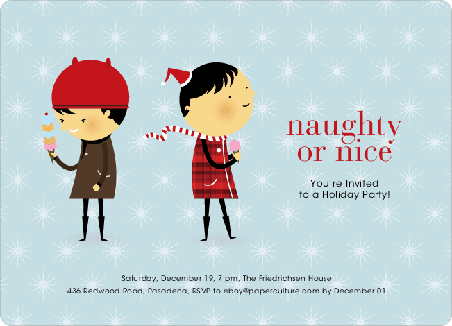Naughty Or Nice Holiday Party Invitations Paper Culture