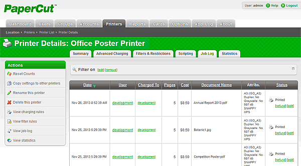 PaperCut Print Jobs list