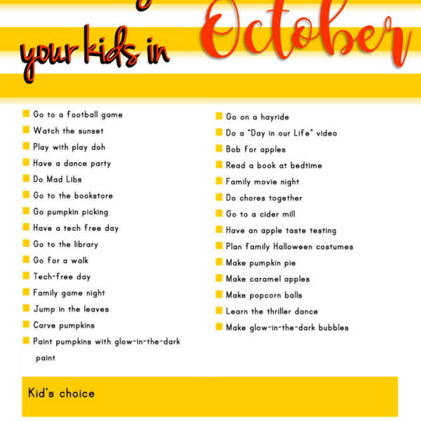 Connect with your Kids in October