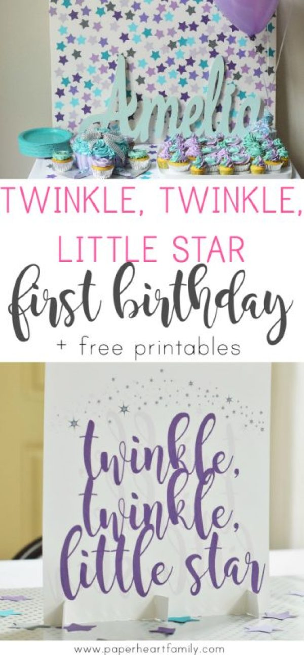 Plan the perfect, simple and beautiful DIY Twinkle, Twinkle, Little Star birthday party for baby's first birthday. First birthday girl   first birthday party ideas   first birthday girl themes   first birthday decorations   first birthday DIY   birthday party on a budget   one year old birthday party girl. #girlbirthday #firstbirthday #oneyearold