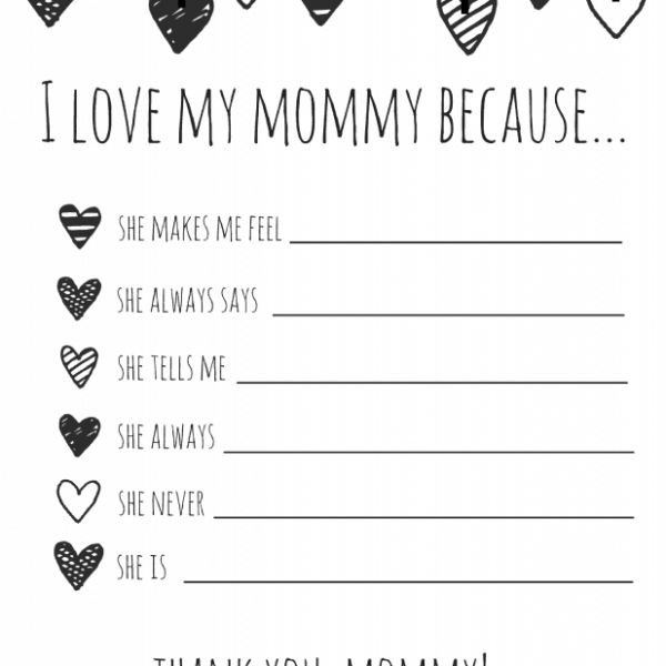 I Love My Mom Because Printable- A Thoughtful Gift For Mom