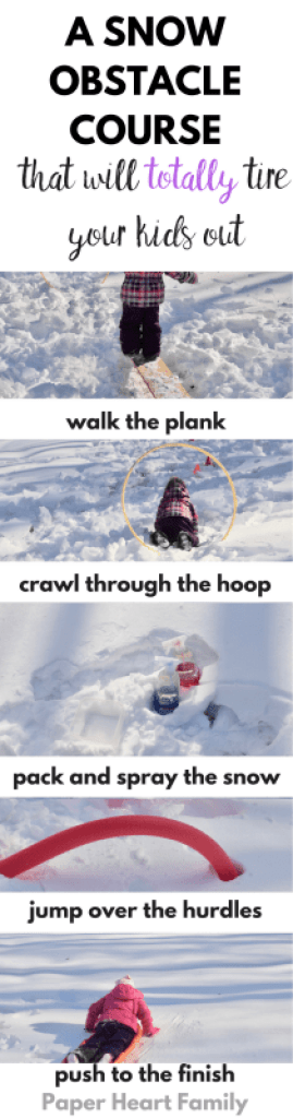 snow obstacle course- winter fun