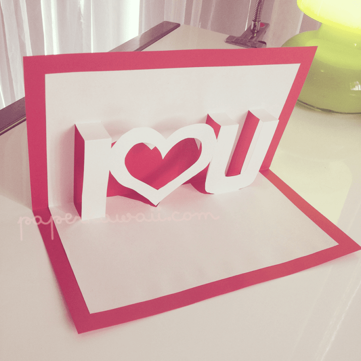 Pop Up Valentines Card Template I U Paper Kawaii