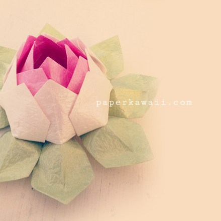 Modular Origami Lotus Flower with 8 Petals - Tutorial via @paper_kawaii
