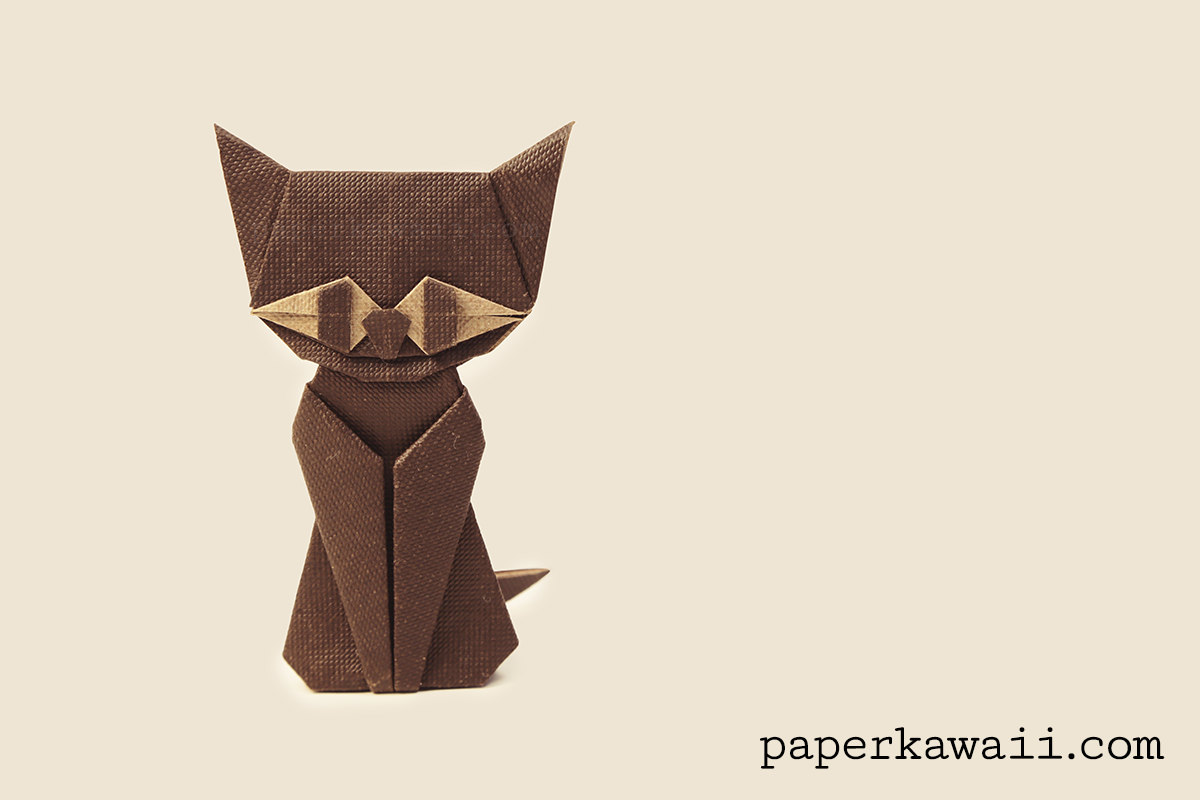 A Cute Origami Cat -It's a Box Too (Version 2 of 2) | 800x1200