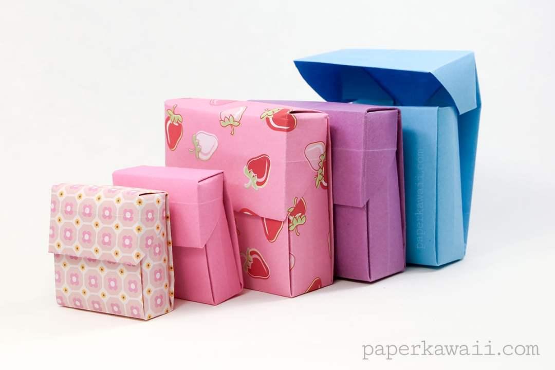 origami flip top box instructions paper kawaii